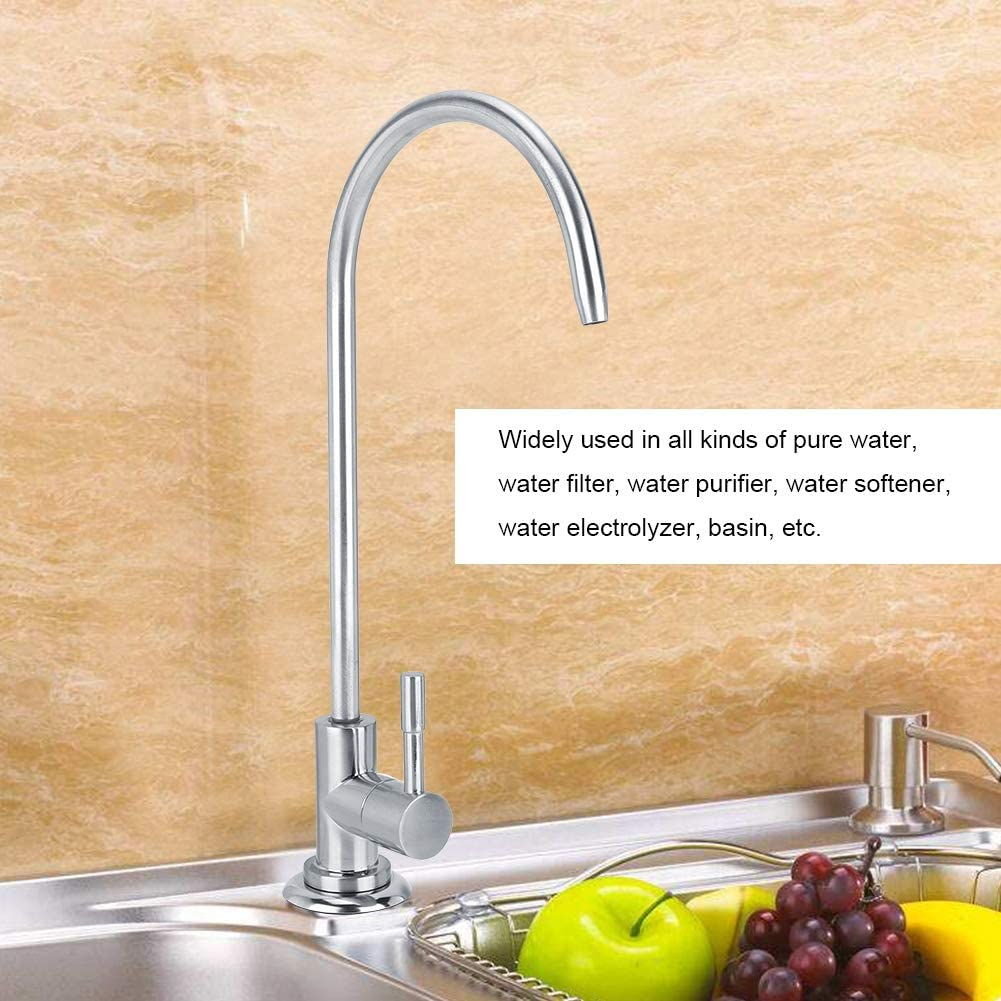 Water Faucet,Corrosion Resistant and Durable 1//4in Water Inlet Zinc Alloy Faucet Single Handle Water Tap for Water Purifier Counter Basin