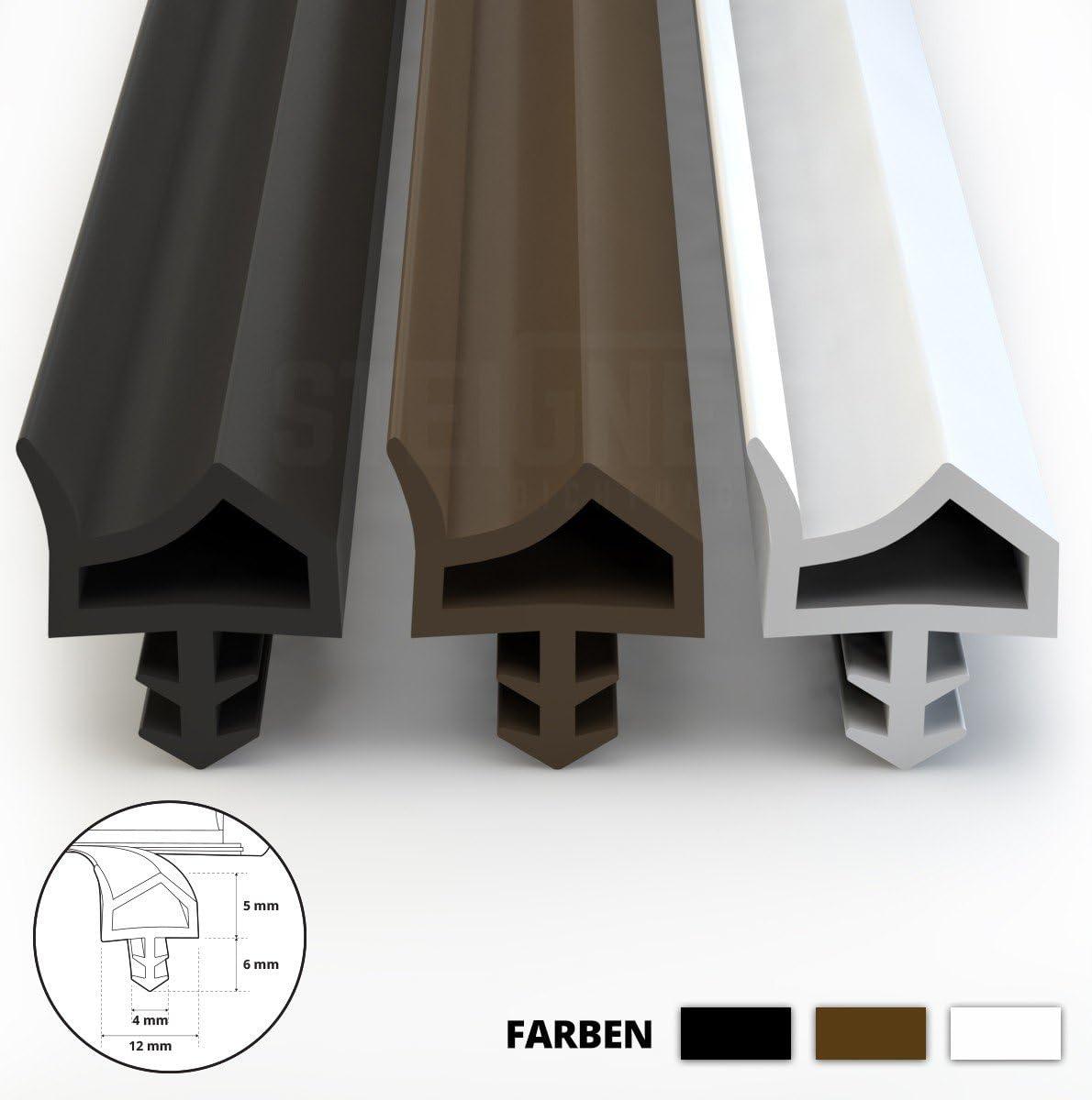 STEIGNER Joint de Porte et de Fen/être STD06 80 m 12 mm Joint d/Étanch/éit/é en Caoutchouc Blanc PVC Aluminium