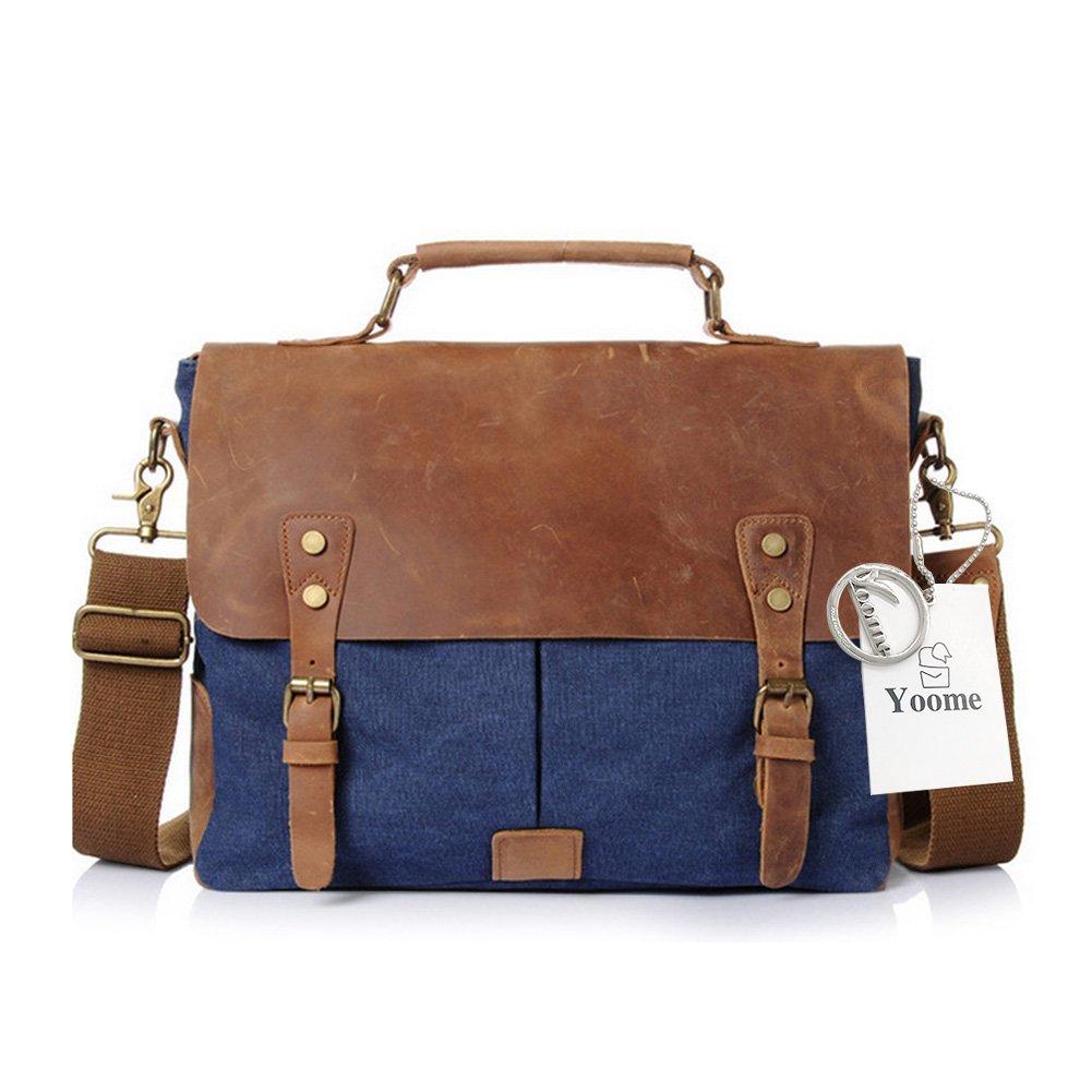Bleu Yoome Mens Briefcase Sac /à bandouli/ère en Cuir Vintage Sac /à bandouli/ère Toile Messenger School Satchel Sacs de Travail jusqu/à 15,6 Pouces