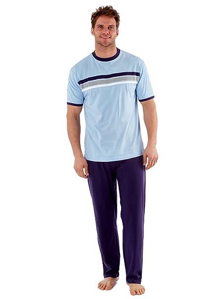para Hombre Top & Pantalones Conjunto Pijama Camiseta Pjs algodón Jersey Verano Azul Azul Marino XX