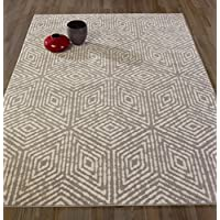 DIAGONA DESIGNS Contemporary Cubes Design Area Rug, Gray / Ivory, 63 W x 87 L