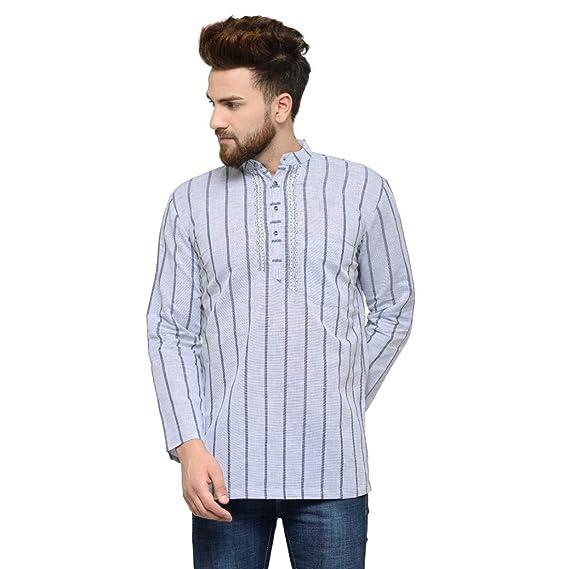 Details about  /Indian Ethnic Men/'s Short Designer Kurta Full Sleeve Collar Cotton Shirt