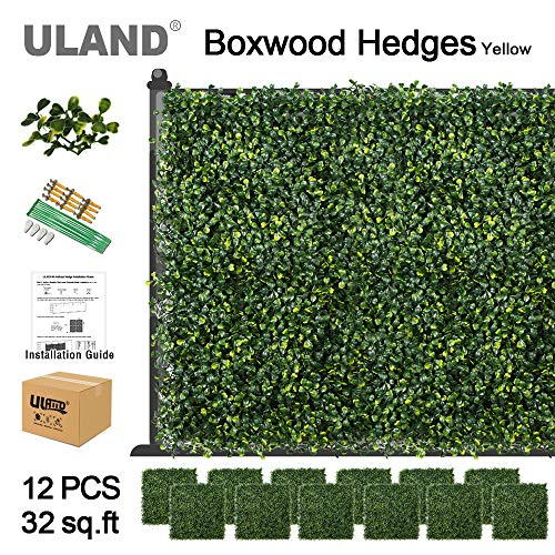 ULAND Artificial Boxwood Hedges Mat, Faux Grass Greenery Wall Decoration, Outdoor Garden Privacy Screen Fence, Pack of 12pcs 20