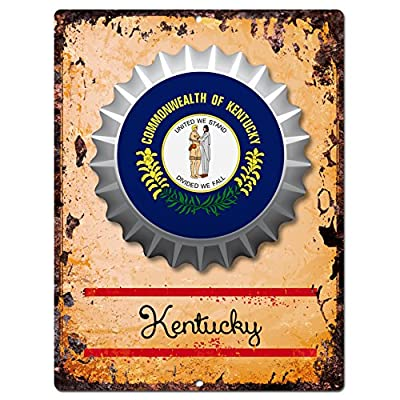 "AMERICA KENTUCKY STATE Flag Bottle Cap Chic Sign Rustic Vintage Retro Kitchen Bar Pub Coffee Shop Wall Decor 9""x12"" Metal Plate Sign Home Store Decor Plaques"