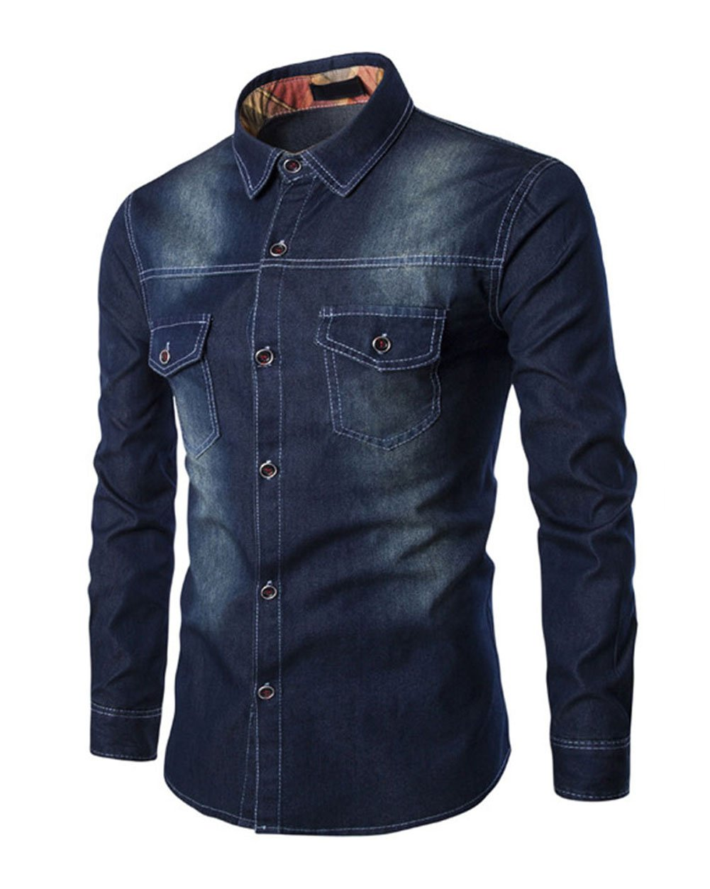 WULFUL Men's Denim Slim Fit Long Sleeve Button Shirt Casual Work Dress Shirt Dark Blue XS