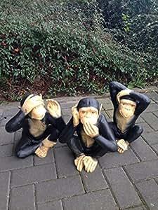 XXL Los Tres Monos inspirador Figura chimpancé Jardín Figura 35cm