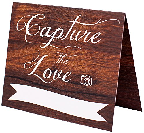 Wedding Signs | Set of 5 Rustic Wood Look Hastag Sign | Capture The Love Wedding Decorations | 4x5 Folded Double Sided On Heavy Cardstock With Linen Texture