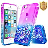 iPhone 5 / 5S / SE Case with [Tempered Glass Screen Protector], NageBee Quicksand Liquid Floating Glitter Flowing Bling Diamond Clear Soft Case For Apple iPhone 5 / 5S / SE - Purple/Blue