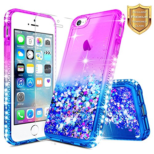 NageBee Quicksand Case Compatible Apple iPhone 5 / 5S / SE w/[Tempered Glass Screen Protector] Glitter Liquid Waterfall Floating Flowing Shiny Sparkle Bling Diamond Luxury Girly Cute Case -Purple/Blue