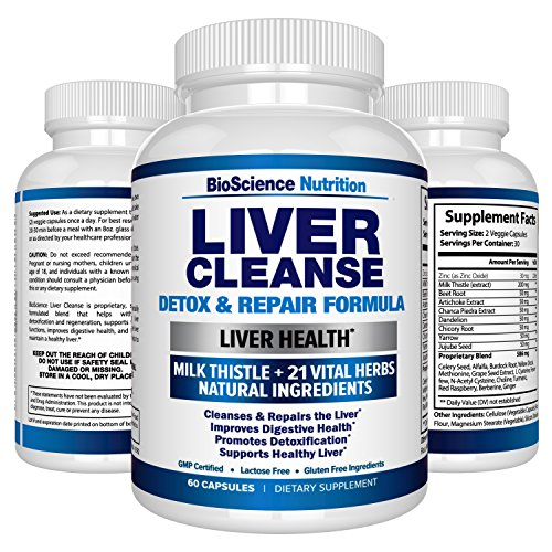 Liver Cleanse Detox & Repair Formula – 22 Herbs Support Supplement: Milk thistle Extracts Silymarin, Beet, Artichoke, Dandelion, Chicory Root – BioScience Nutrition USA