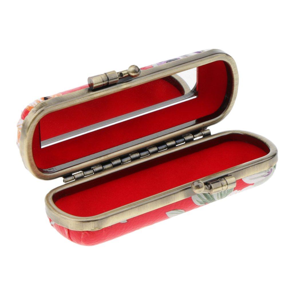 Sharplace Etui de Rouge à Lèvres Vintage Boîte de Rangement Lipstick Bijoux Imperméable avec Mirror - Rose