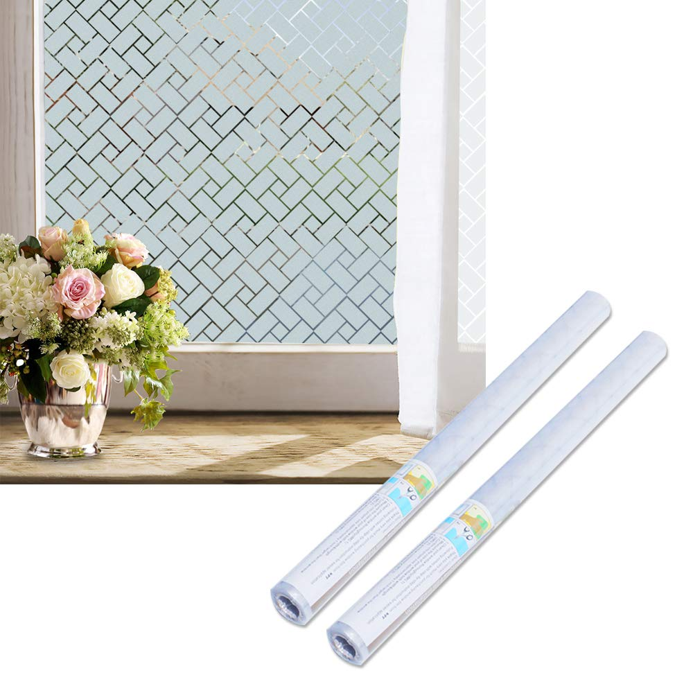 Wopeite Window Privacy Film Removable Bathroom Adhesive Window Film Frosted for Glass 35.4 X 78.7inches,2 Pack by Wopeite