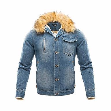 ZODOF Chaqueta Slim para Hombre Hombres Cuello de Piel Otoño Invierno Vintage Distressed Demin Jacket Tops Abrigo Outwear: Amazon.es: Ropa y accesorios