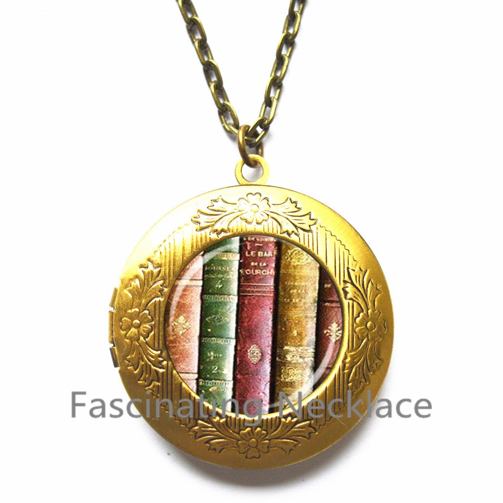book jewelry books library Locket Pendant Locket Pendant,AE0097/ bookshelf Locket Necklace Book art Locket Pendant library Locket Necklace book Locket Necklace