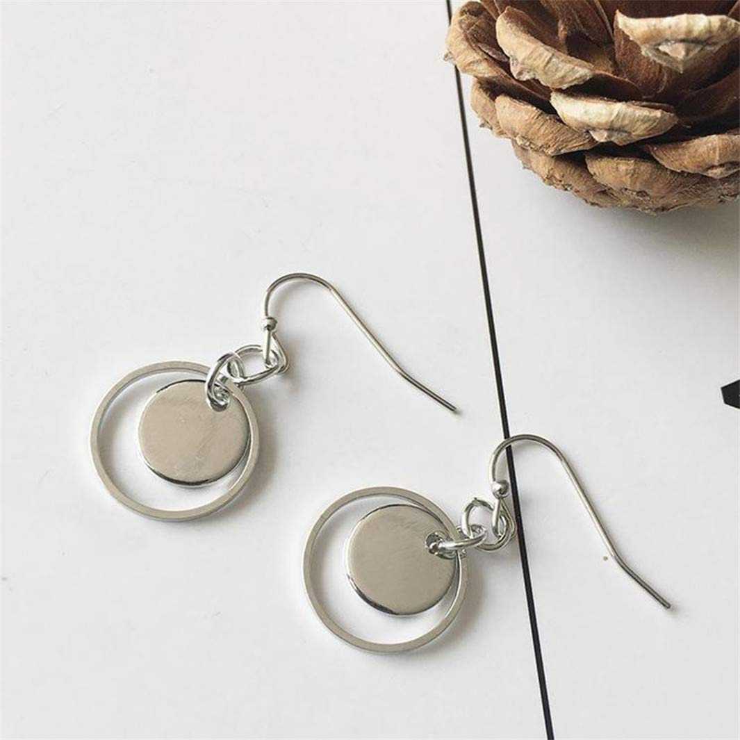 Geometric Double Layers Metal Round Drop Earring for Women Girls Party Gifts