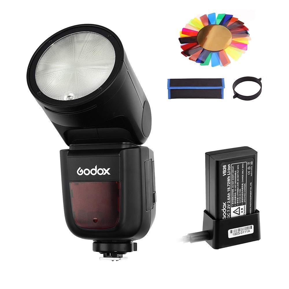 Godox V1-S Flash for Sony, 76Ws 2.4G TTL Round Head Flash Speedlight, 1/8000 HSS, 480 Full Power Shots, 1.5 sec. Recycle Time, Interchangeable 2600mAh Lithimu Battery, 10 Level LED Modeling Lamp
