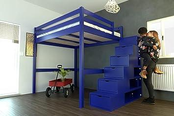 ABC MEUBLES - Cama Alta Sylvia con Escalera Cubo - Cube - Chocolate, 160x200: Amazon.es: Hogar