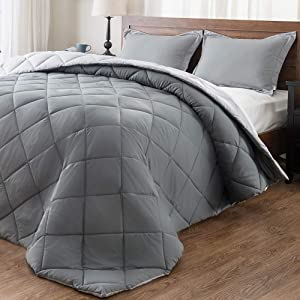 downluxe Lightweight Solid Comforter Set (King) with 2 Pillow Shams - 3-Piece Set - Charcol and Grey - Down Alternative Reversible Comforter