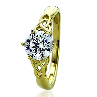 14k Yellow Gold 1 25 Carat Round Cz Celtic Love Knot Wedding