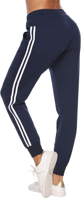 Aibrou Jogginghose Damen Sporthose Freizeithose Traininghose Baumwolle Lang f/ür Jogging Laufen Fitness mit Streifen