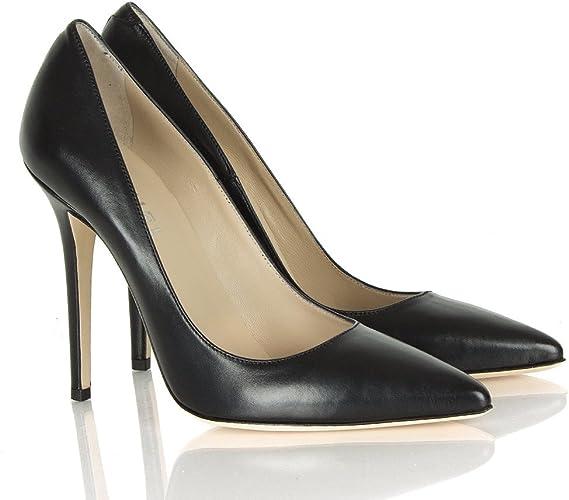 Daniel Black Leather Mustio Court Shoes