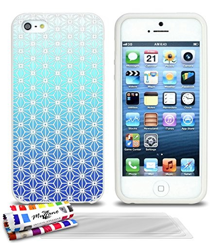 Ultraflache weiche Schutzhülle APPLE IPHONE 5S / IPHONE SE [Asanoha blau] [Weiss] von MUZZANO + 3 Display-Schutzfolien UltraClear + STIFT und MICROFASERTUCH MUZZANO® GRATIS - Das ULTIMATIVE, ELEGANTE
