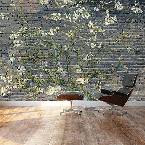 Almond Blossom by Vincent Van Gogh Floral painting on a smokey brick textured background Wall Mural