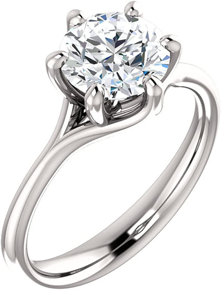 GNGJewel Forever One Moissanite (GHI) Engagement Ring in Solid 14k Gold