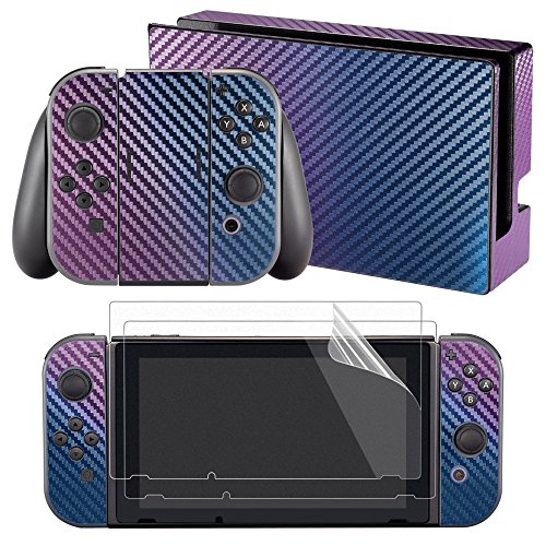 Full Case Chameleon (eXtremeRate Chameleon Full Set Faceplates Skin Stickers + 2 pcs Screen Protectors for for Nintendo Switch (Console & Joy-con & Dock & Grip) - Purple Blue)