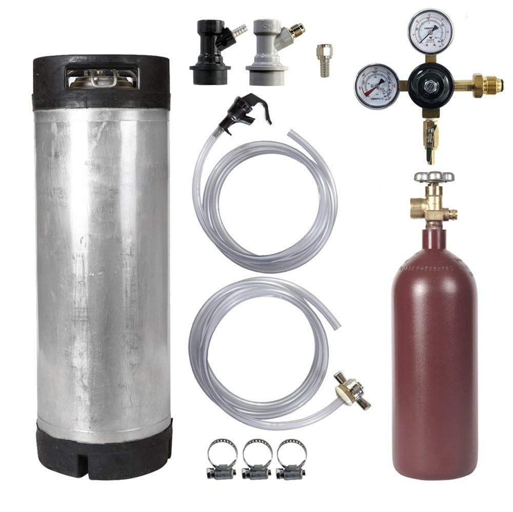 Keg Kit - 5 Gallon Ball Lock Keg, 20 cuft Steel Nitrogen Cylinder, Regulator, and All Accessories