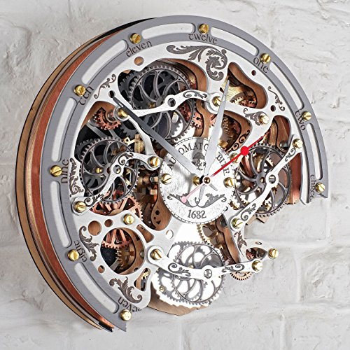 Automaton Bite 1682 White HANDCRAFTED moving gears wall clock by WOODANDROOT transparent steampunk wall clock, unique, personalized gifts, anniversary gift, large wall clock, home decor by WOODANDROOT (Image #5)