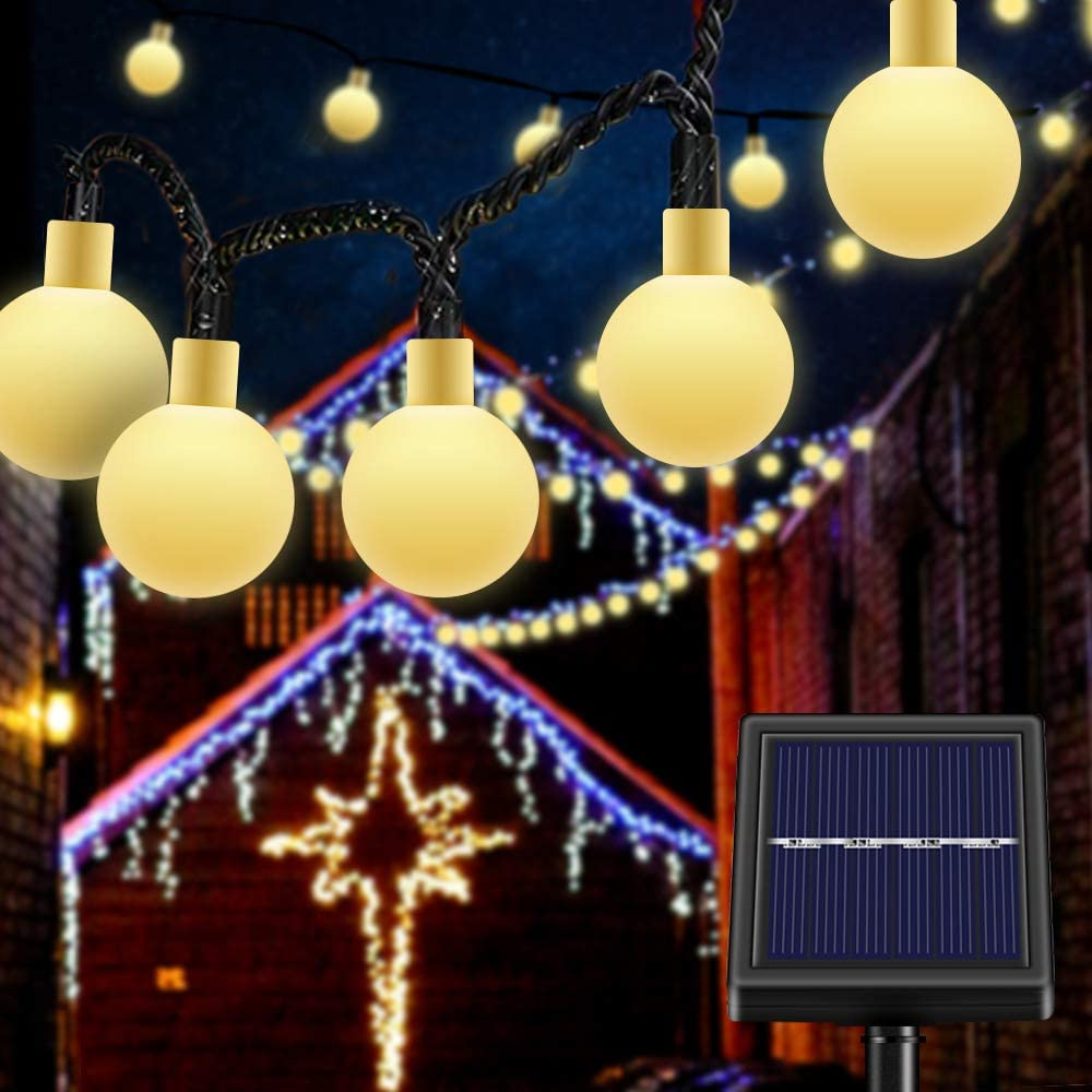 Qoosea Waterproof Solar String Lights Outdoor Chandelier Star Lights with 8 Modes Warm White Fairy Lights for Decoration 50 LED Copper Wire String Lights