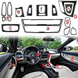 Xotic Tech 1X FULL SET INTERIOR TRIM COVER STICKERS REAL CARBON FIBER FOR BMW 3 4 SERIES