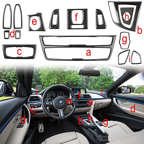 Xotic Tech 1X FULL SET INTERIOR TRIM COVER STICKERS REAL CARBON FIBER FOR BMW 3 4 SERIES by Xotic Tech (Image #9)