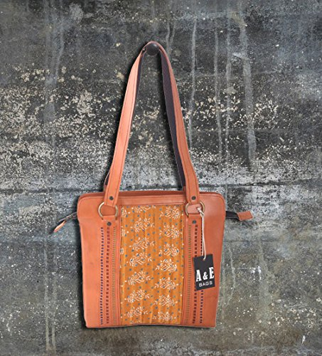 A/&E Womens Sling Cutwork Mustard Color Bags