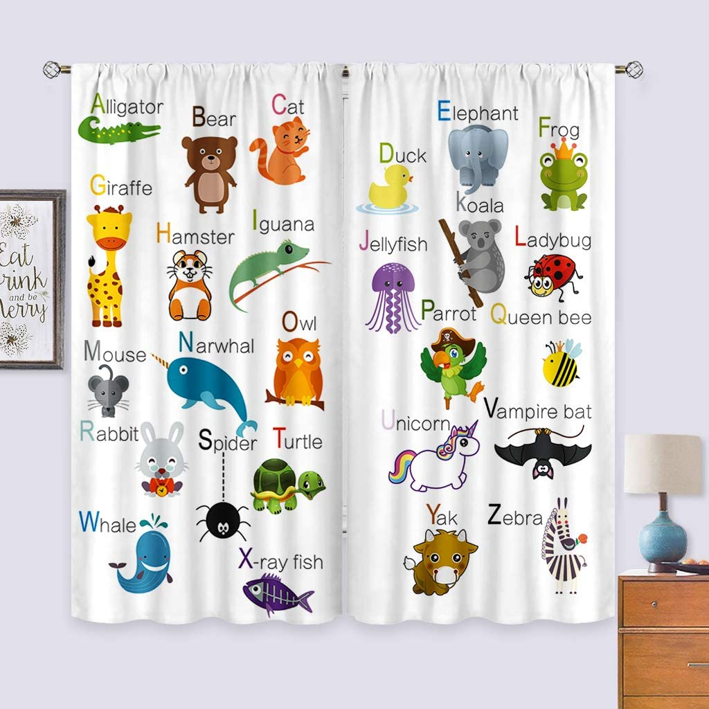 Inch x 63 W Cinbloo ABC Learning Alphabet Thin Fabric Curtains Not Blackout L Rod Pocket Kids Educational Funny Teaching Words Printed Living Room Bedroom Window Drapes Treatment 2 Panels 41