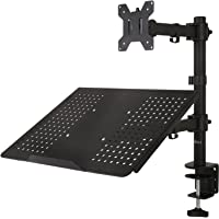 WALI Single LCD Monitor Desk Mount Fully Adjustable Stand with Extra Laptop Tray for 1 Laptop Notebook up to 17 inch and…