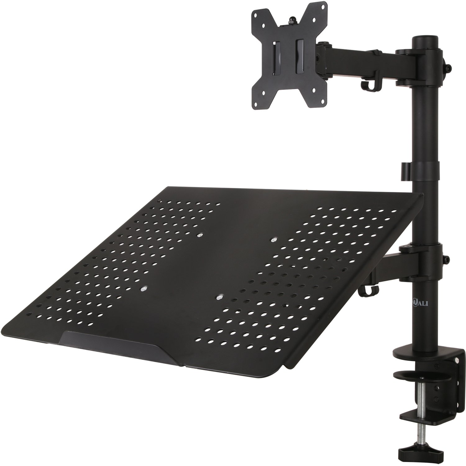 "WALI Single LCD Monitor Desk Mount Fully Adjustable Stand with Extra Laptop Tray for One Laptop Notebook up to 17"" and One Screen up to 27"", 22 lbs. Weight Capacity (M001LP), Black"