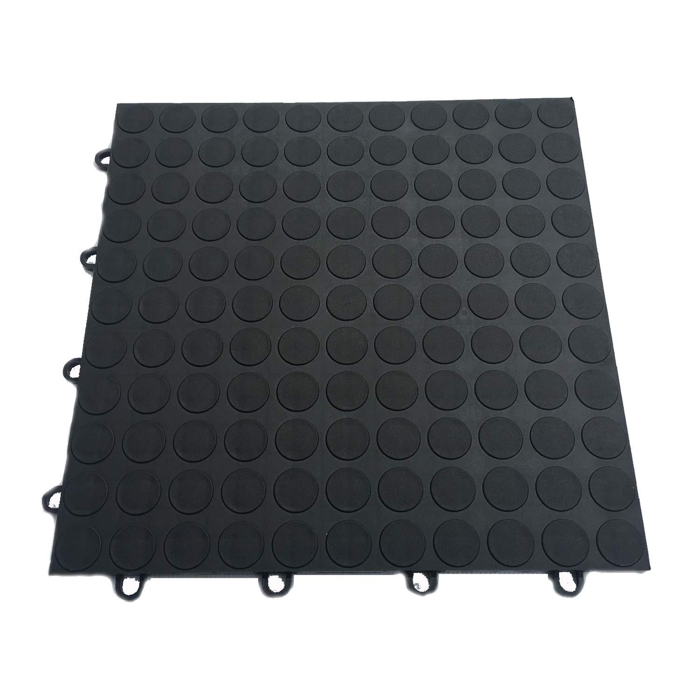 HYSA MAT Garagen Bodenfliesen Klickfliese 30.5 x 30.5 cm Noppen PVC Fliesen 12 Stück Schweiß