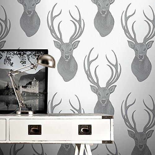 Rasch Stag Head Pattern Wallpaper Deer Modern Metallic Glitter Motif White 273717