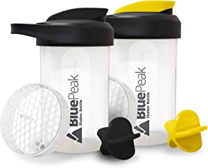 BluePeak Protein Shaker Bottle 20-Ounce, 2-Pack, with Dual Mixing Technology. BPA Free, Shaker Balls & Mixing Grids Included (Black & Yellow)