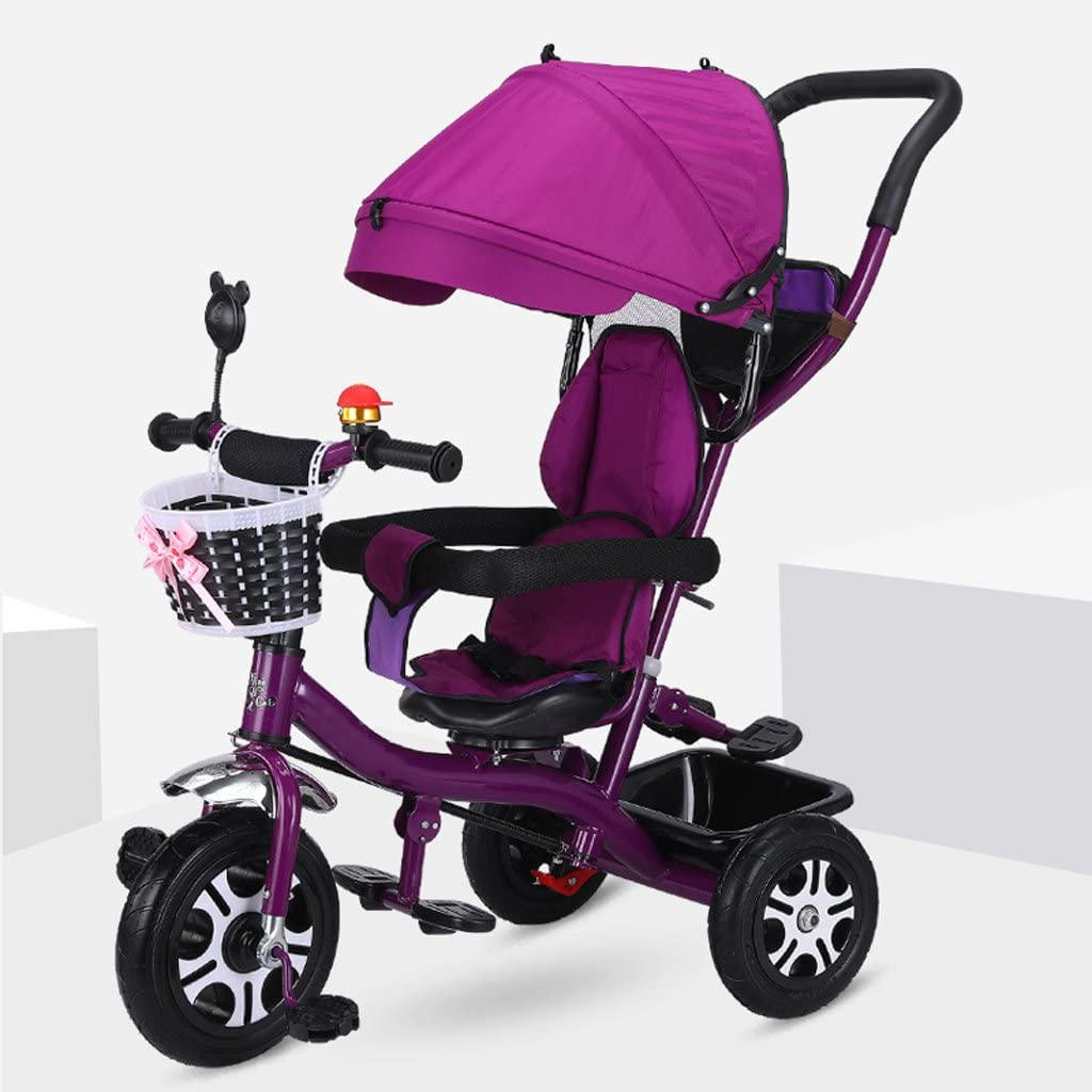 XXW Cochecito De Bebé Cochecito de bebé con Parasol Titanio Rueda de Aire Absorción de choques Triciclo para niños Altura Desmontable Ajustable Pedal para niños Trike Carro (Color : Purple)