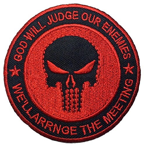 God Will Judge Our Enemies Skull Sewing Iron on Patch - Black and Red by Ranger Return (GOD-JUGDE-BKRD-02)