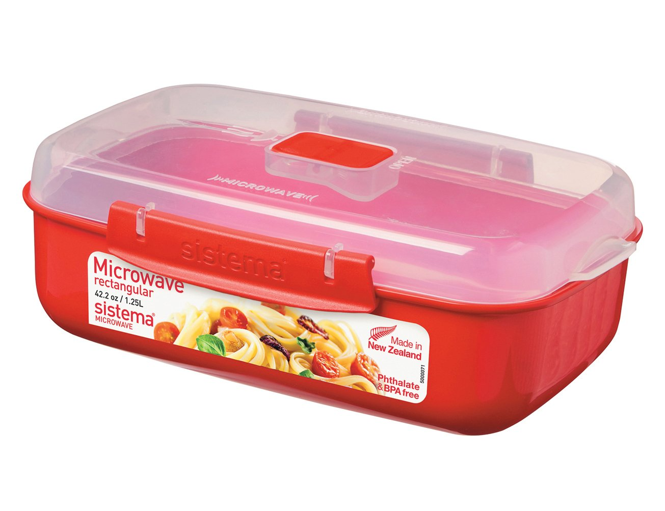 Sistema Microwave Cookware Rectangular Bowl, 42.2 Ounce/ 5.2 Cup, Red 1114ZS