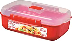 Sistema Microwave  1.25L Rectangle Bowl, Red