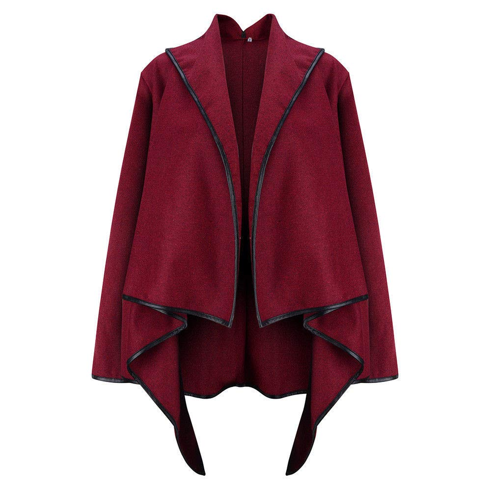 GridNN-Irregular Top,Women Irregular Bow Zippers Sleeve Long Warm Coat Wool Jacket Parka Windbreaker