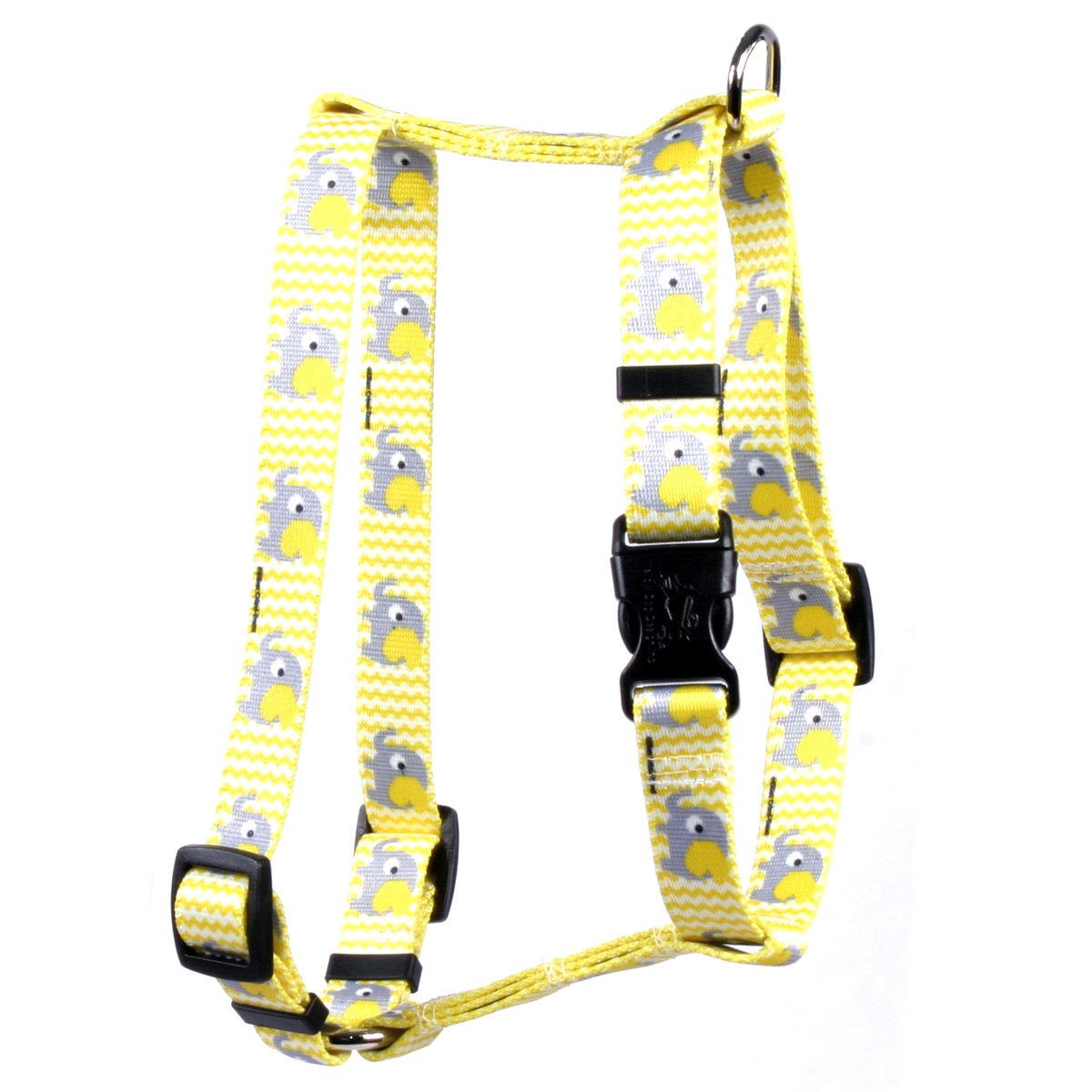Yellow Dog Design Yellow Elephants Roman Style H Dog Harness-Large-1'' and fits Chest 20 to 28''