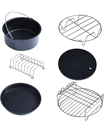 Fdit 6pz Juego Accesorios para freidora Pizza Plato grill de hierba Juego de horno Kit partes