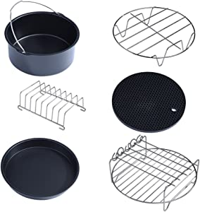 6 in 1 Air Fryer Accessories Set, Pack Including Metal Holder/Skewer Rack/Cake Barrel/Silicone Mat/Pizza Pan/Bread Shelf/Stainless Steel Stick