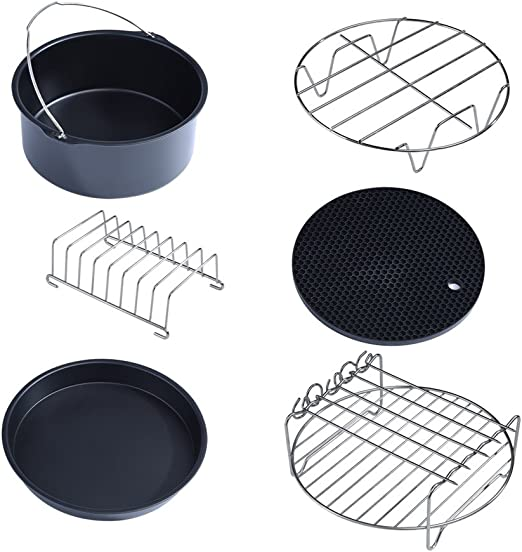5.6QT and Up 6 in 1 Air Fryer Accessories Set Fit all Standard Air Fryer 4.0QT Multifunctional Air Fryer Accessories Set Kit Parts Metal Holder Skewer Rack Cake Barrel 4.5QT